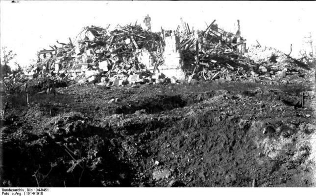 zerstörtes Schloss Hollebeke, Rückansicht